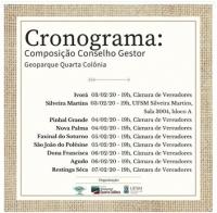 Calendário de reuniões para formação do Conselho Gestor do Geoparque Quarta Colônia: